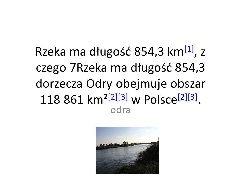 Rzeka ma długość 854,3 km[1], z czego 7Rzeka ma długość 854,3 dorzecza Odry obejmuje obszar 118 861 km²[2][3] w Polsce[2][3].